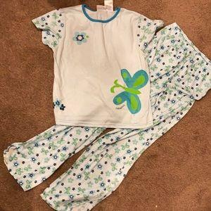 Vintage OshKosh girls pajama set size 12 blue/grn